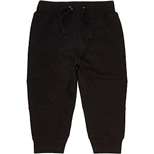 Mini boys black seamed joggers