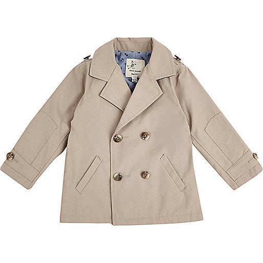 Mini boys brown double breasted mac coat