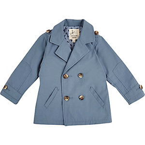 Mini boys blue double breasted mac coat