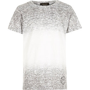 Boys grey textured faded print t-shirt