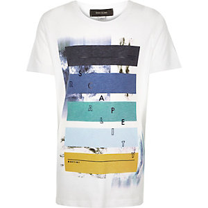Boys white escape print t-shirt