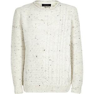 Boys ecru cable knit sweater