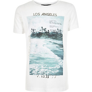 Boys white wave print t-shirt