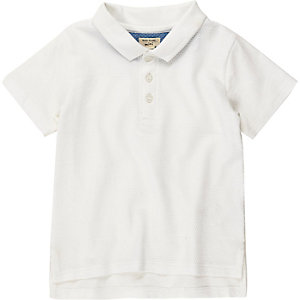Mini boys white textured polo shirt