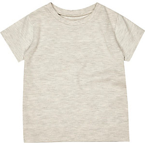 Mini boys cream textured t-shirt
