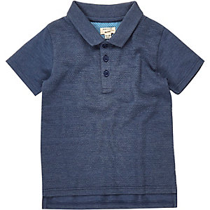 Mini boys navy textured polo shirt