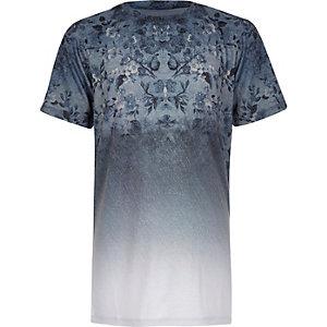 Boys blue faded floral print t-shirt