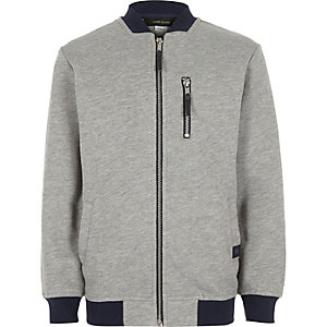 Boys grey zip bomber jacket