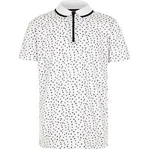 Boys white ditsy print polo shirt