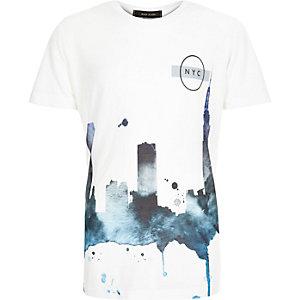 Boys white New York print t-shirt