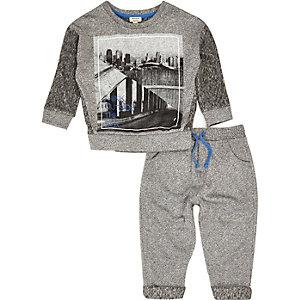Mini boys grey city sweatshirt joggers outfit
