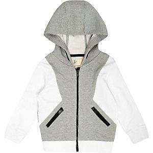 Mini boys grey panel hoodie