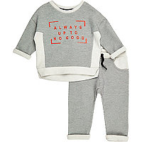 Mini boys grey sweater joggers co-ord outfit
