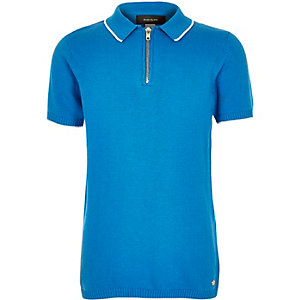 Boys blue zip-up neck polo shirt