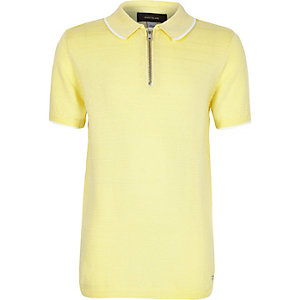 Boys yellow knitted zip-up neck polo shirt