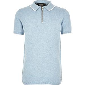 Boys blue knitted marl polo shirt
