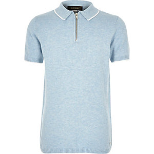 Boys blue marl zip-up neck polo shirt