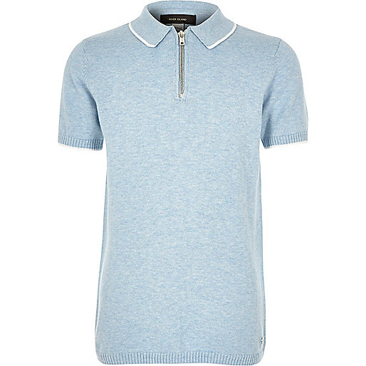 Boys blue knitted marl polo shirt