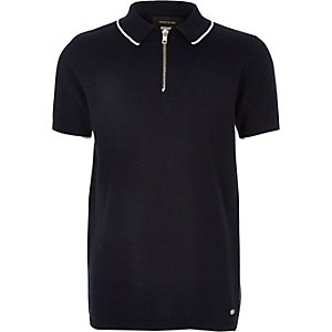 Boys navy zip-up neck polo shirt