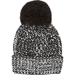 Boys black knitted large pom pom hat