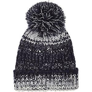 Boys blue knitted bobble hat