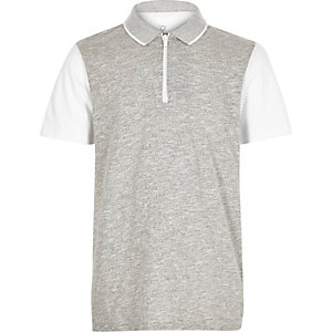 Boys grey zip-up polo shirt