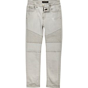 Boys light grey biker slim jeans