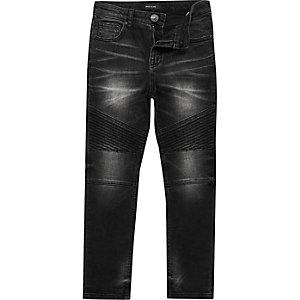 Boys washed black biker skinny jeans