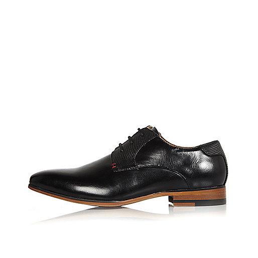 Boys black smart block colour heel shoes