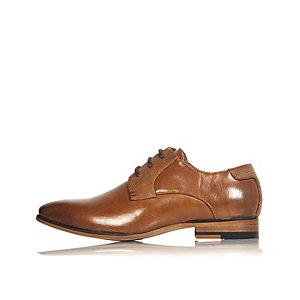 Boys brown smart color block shoes
