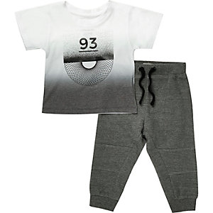 Mini boys white jogger set