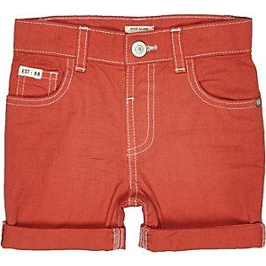 Mini boys red denim shorts