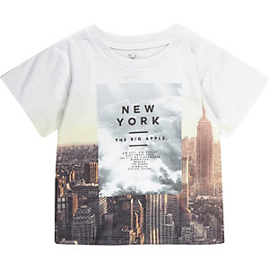 Mini boys white New York print t-shirt