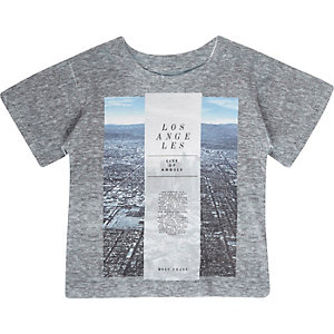 Mini boys grey Los Angeles print t-shirt