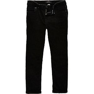 Boys black contrast stitch Dylan slim jeans