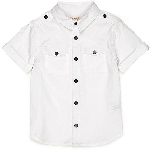 Mini boys white poplin shirt