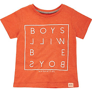 Mini boys red slogan print t-shirt