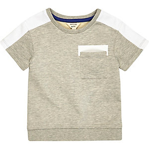 Mini boys grey short sleeve sweatshirt