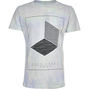 Boys white geometric print t-shirt