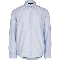 Boys light blue smart popper shirt