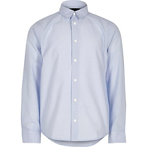Boys light blue smart popper shirt