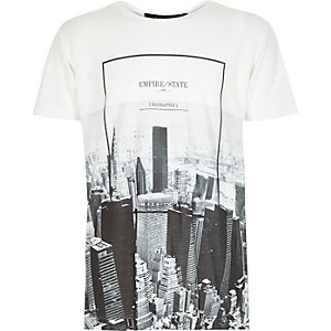 Boys white Empire State city print t-shirt