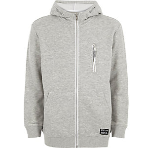Boys grey zip-up hoodie