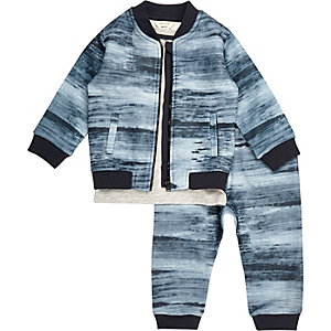 Mini boys navy bomber t-shirt joggers set
