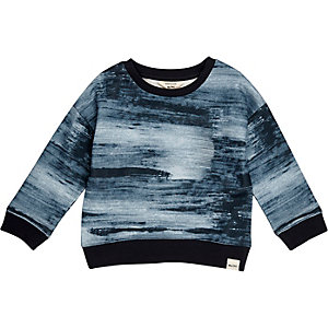 Mini boys navy print sweatshirt