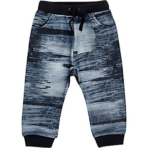 Mini boys navy print joggers