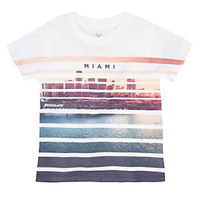 Mini boys white Miami stripe t-shirt