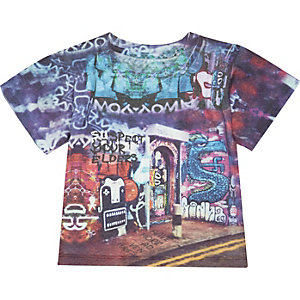 Mini boys blue graffiti print t-shirt