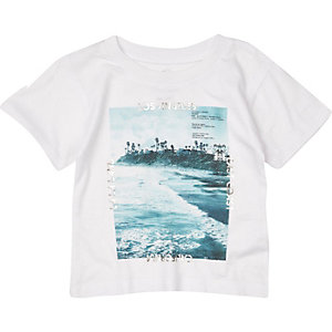Mini boys white Los Angeles print t-shirt