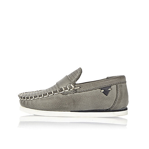 Mini boys grey leather loafers